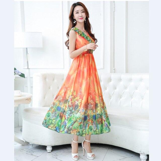 Nrh1176j # nuevos vestidos largos 2017 primavera verano orange novia ...