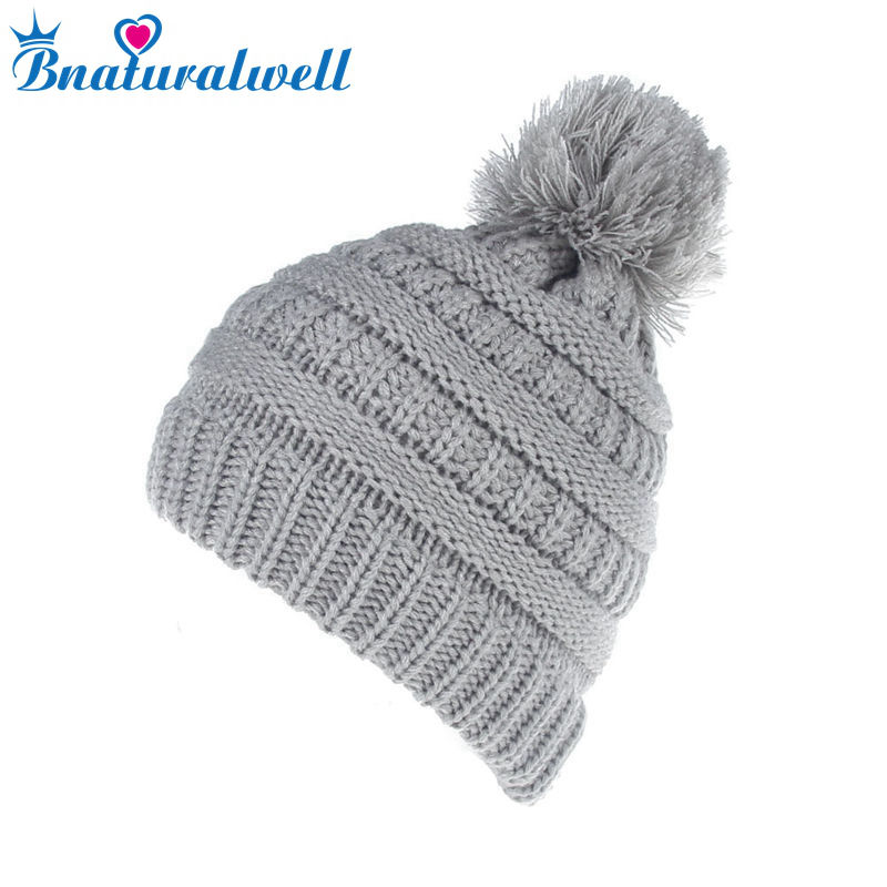 Bnaturalwell Child Baby Warm Hat Winter Knit Beanie Crochet Thick Ski Cap Knitted Hat Kids Brand Boy Hat Drop Shipping H063S