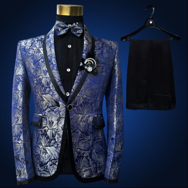 Blazer men suit set with pants mens wedding suits costume singer star style dance stage clothing fashion pattern formal dress(China)