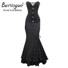 Burvogue Waist Control Corsets And Mermaid Skirt Gothic Corset Dress Steampunk High Waist Long Skirts Steampunk Corset Dress