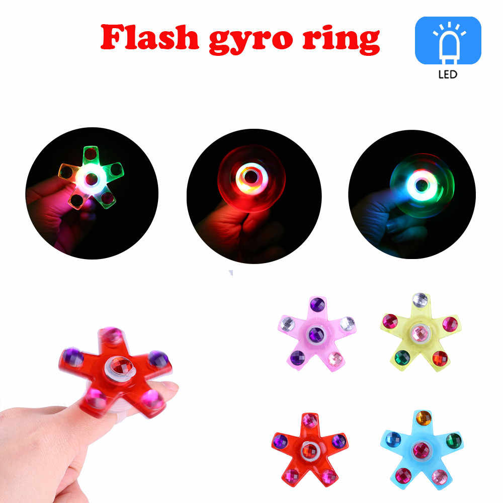 Children's Luminous Ring Manual Rotating Soft Plastic Flash Gyro Ring New led toys for kids juguetes navidad Random #A0
