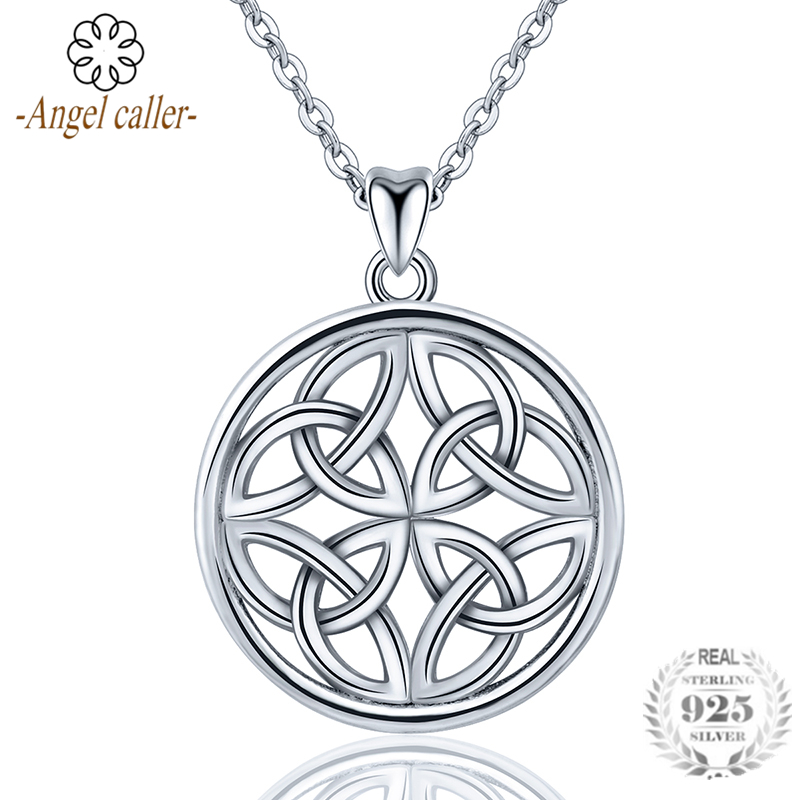 Angel Caller Genuine 925 Sterling Silver Round Pendant Necklace Dara Celtics Knot Fine Jewelry for Women Girls Female CYD208Angel Caller Genuine 925 Sterling Silver Round Pendant Necklace Dara Celtics Knot Fine Jewelry for Women Girls Female CYD208