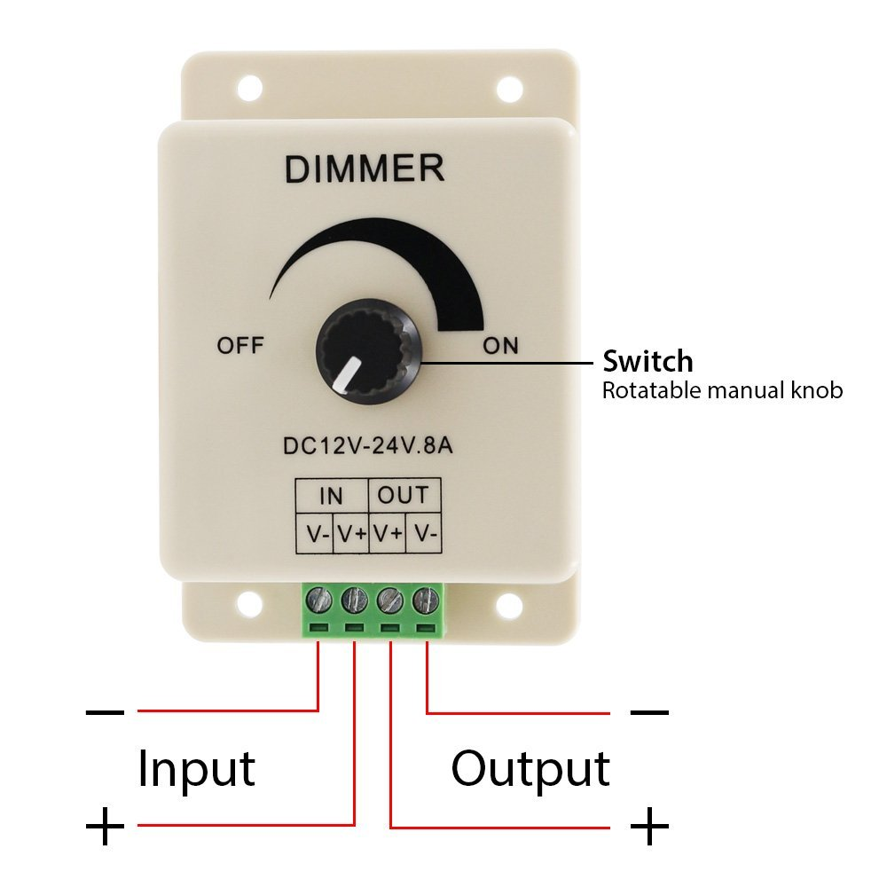 SICCSAEE 12V 24V LED Dimmer Switch 8A Voltage Regulator Adjustable Controller For LED Strip Light Lamp