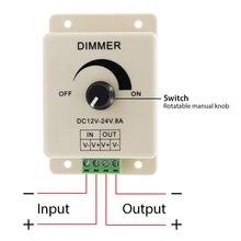 SICCSAEE 12V 24V LED Dimmer Switch 8A Voltage Regulator Adjustable Controller for Strip Light Lamp
