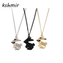 kshmir contracted origami animal three-dimensional model Black rabbit necklace chain of clavicle women adorn article