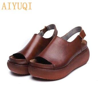 AIYUQI Sandals Female 2020 Summer Genuine Leather Retro Women Platform Flat Casual Shoes European Roman