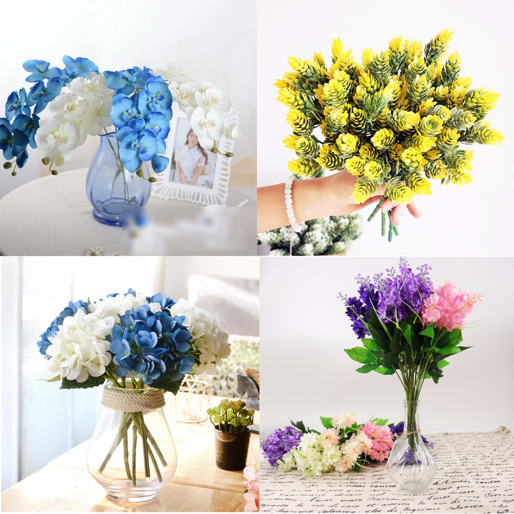 Artificial flowers fake Phalaenopsis Silk Flower Butterfly Orchid Bouquet Wedding Party Home Decoration DIY Gift Box Craft