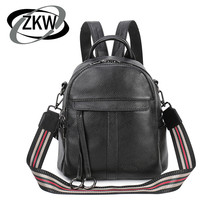 купить ZKW New Arrival Women Backpack Cow Leather Girl  Designer Casual Genuine Leather Laptop Bags Solid Female Trave Bag дешево