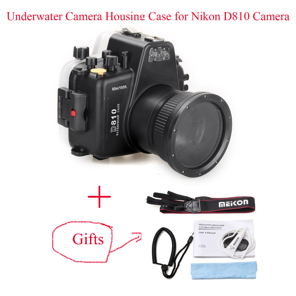 Meikon 60m195ft Underwater Camera Housing Case for Nikon D810 Camera,Diving Equipment Waterproof Bags Case Cover for Nikon D810