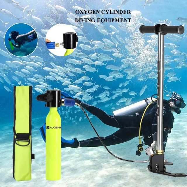 Augienb 0.5L Portable  Oxygen Cylinder Diving Reserve Air Tanks Set / Hand Pump+Respiratoor Bag+Converter+Adapter+Mask