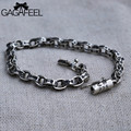 GAGAFEEL Men Bracelet Thai Sterling Silver Braceles Bangles Vintage Punk Male Jewelry Chain 16-21CM 5/6MM Wide Gift For Friend