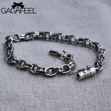 Gagafeel hombres joyería braceles brazaletes pulsera de plata tailandesa masculina punky de la vendimia de la cadena 16-21 cm 5/6mm gran regalo para el amigo