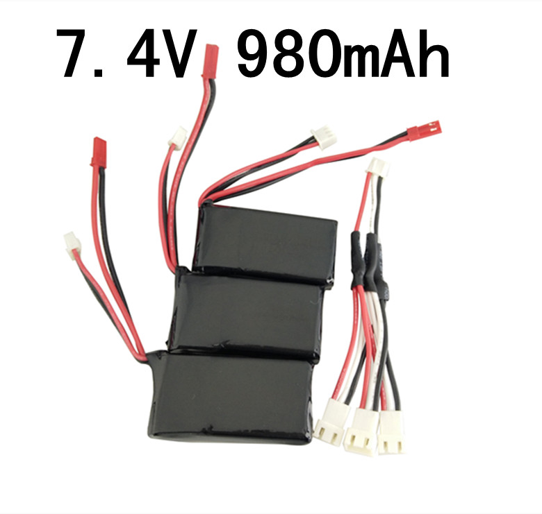 WLToys V262 V353 V912 V915 helicopter battery MJX X600 four-axis aircraft 3PCS 7.4V 980mah lithium battery and charging cable four axis aircraft lithium battery accessories for udi u842 u842 1 u818s helicopter 3pcs battery and 6 in 1 charger