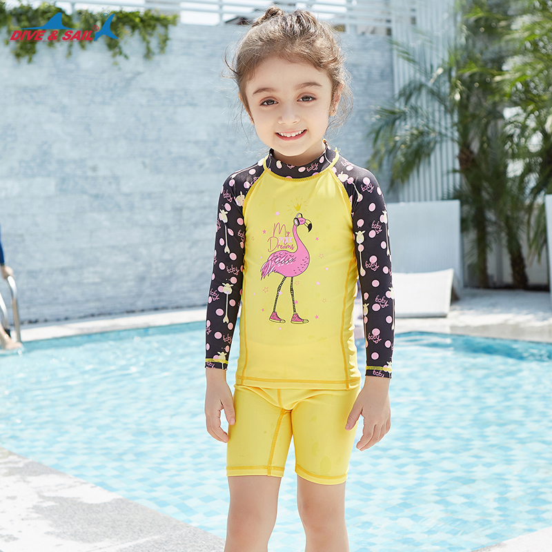 0083ab26420 Girls Two Piece Quick-dry Diving Suit UPF 50+ UV Long Sleeve Swimwear Kids  Shirts+Shorts Beach Surfing Bathing Suit RashGuard. 1 order