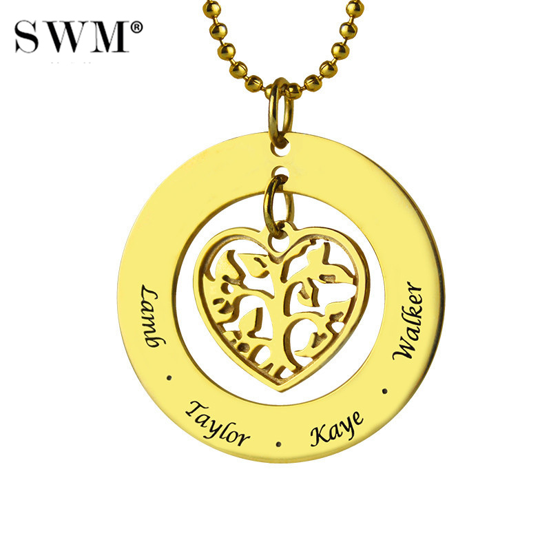 Women's Gold Color Necklace Custom Family Tree of Life Necklaces Love Heart Pendant Engraved Kids Name Chain Jewelry for Mom цены онлайн