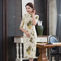 Free shipping Half Sleeve Qipao Cheongsam national trend chinese style dresses Linen Oriental Style Dress robes chinoises
