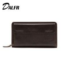 DALFR Echtem Leder Männlichen Brieftasche Kartenhalter Lange Geldbörse für Männer Vintage Stil Reißverschluss Rindsleder Herren Handtasche