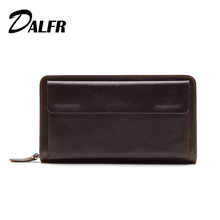 DALFR Genuine Leather Male Wallet Card Holder Long Money Purse for Men Vintage Style Zipper Cowhide Mens Clutch Bag