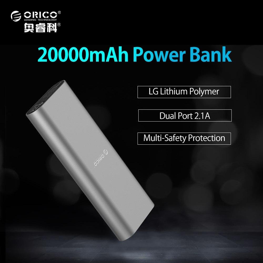 ORICO S2 20000mAh Smart Identification Dual USB Port Power Bank LG Battery Universal For IPhone 7