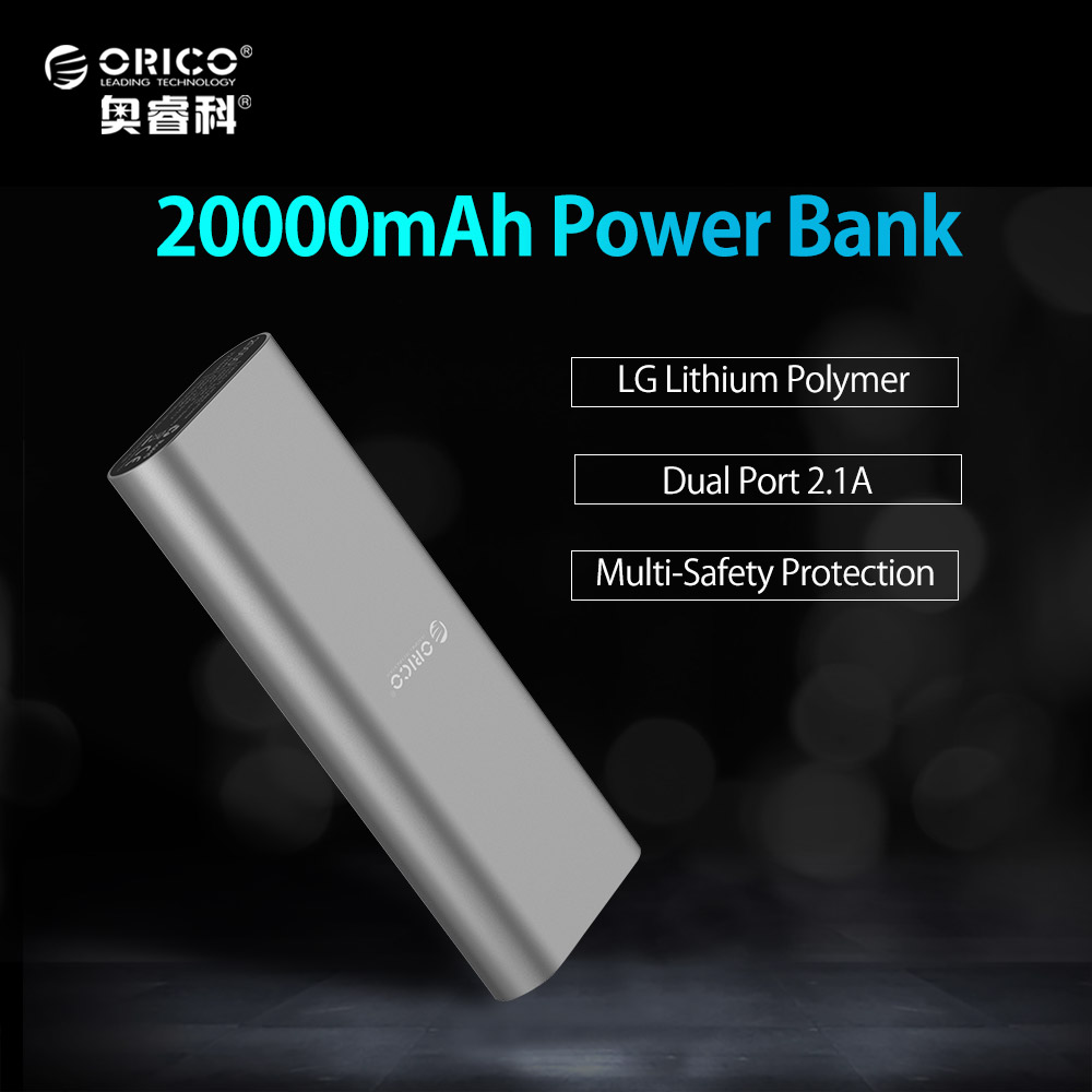 ORICO S2 20000mAh Smart Identification Dual USB Port Power Bank LG Battery Universal For iPhone 7 6s Samsung S6 Xiao mi Mi Pad