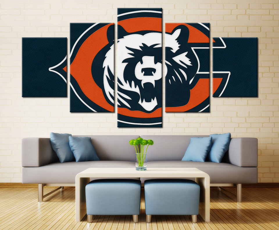 5 Panels Chicago Bears Hot Selling Modern Home Decoraive