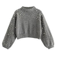 JAYCOSIN 2018 Winter fashion Cotton Beading Sweater for Women Pullovers Knit Garments Female Wool Short pearl decoration Sweater