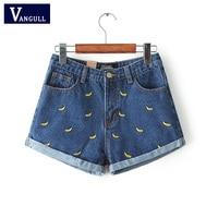 Denim Shorts Women Summer Banana Flower Embroidery Cotton Denim Shorts 2016 curling plus size casual female waist Jeans Shorts