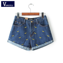 Women Summer Banana Flower Embroidery Cotton Denim Shorts 2016 curling Loose Large Type casual female waist