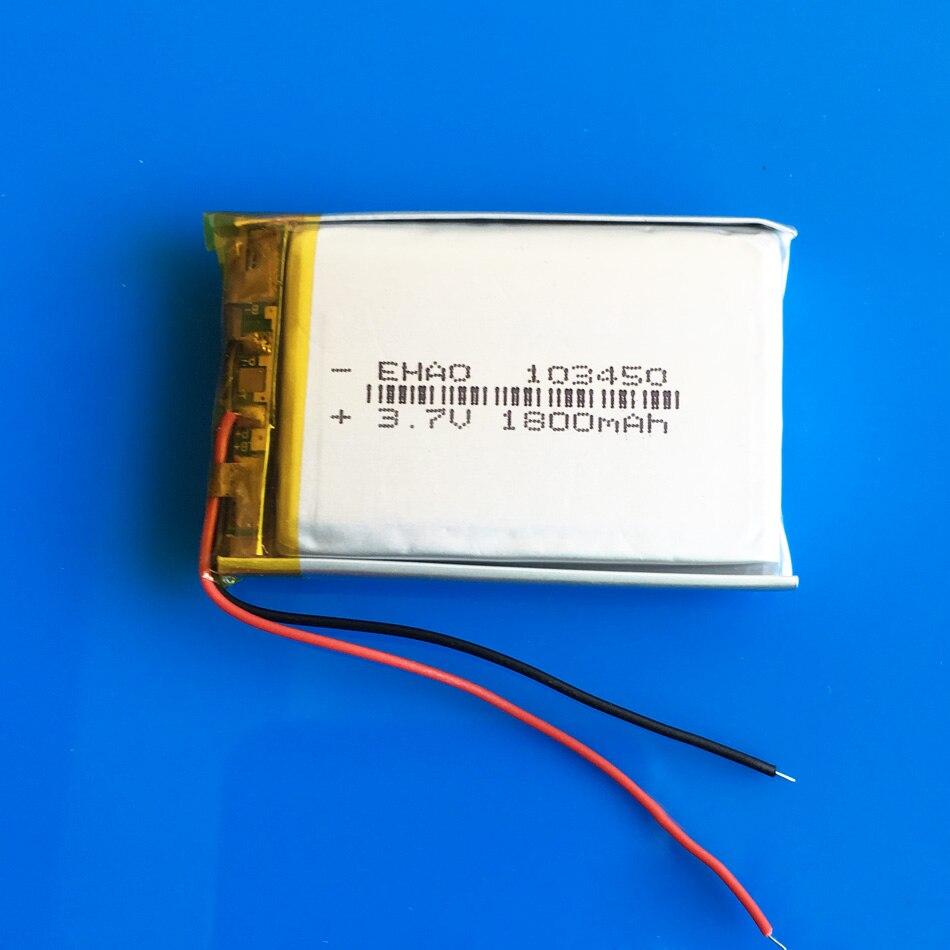 3.7V 1800mAh lipo polymer li ion lithium rechargeable battery 103450 for MP3 GPS navigator DVD  recorder headset e-book camera