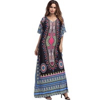 Bohoartist 2018Women Long Dress Summer Black V Neck Print Pullover Bohemian Ladies Maxi Middle East Muslim
