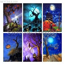 Halloween Diamant-stickerei DIY Diamant Malerei Kreuzstich Kit Hexe, mond, herbst, handarbeiten Diamant Mosaik Dekoration(China)