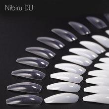 Unhas falsas dicas de exibição bailarina acrílica artificial transparente/guia natural cápsula stiletto cobertura completa prego falso