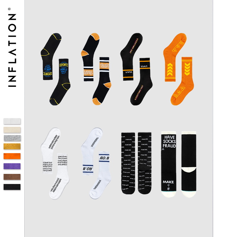INFLATION Package Sale 2018 Men Women Diagonal Socks Letter Long Socks Hip Hop Streetwear Casual Cotton Ins Fashion Dress Socks