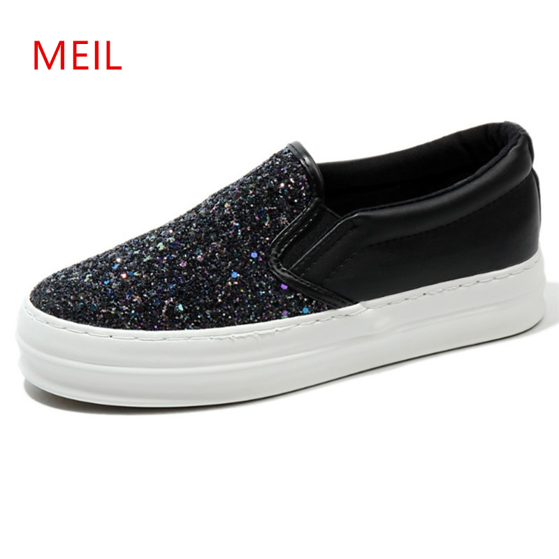 Thick Sole Sequined Cloth Slip On Shoe Flat Womens Casual Shoes Soft Fashion Low Top PU Black Shoes Womens Designer Trainers in Women 39 s Flats from Shoes