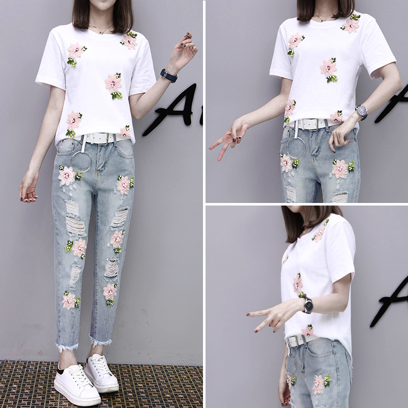 2017 Summer Women Embroidery Bead Sets Sportsing T-shirt+Hole Jeans Casual Two-piece Fashion Suit Lovely Student Clothes YAGENZ 3