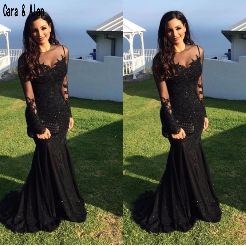 Formal Black Evening Dresses Mermaid Long Sleeve Sheer Neck Prom Dress 2019 Lace Applique Custom Made Party Gowns
