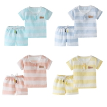цены на Summer Suit Baby Boys Girls Short Sleeve Striped Print T-shirt Tops+Shorts Casual Outfits Clothes Sets Breathable 2019 New  в интернет-магазинах