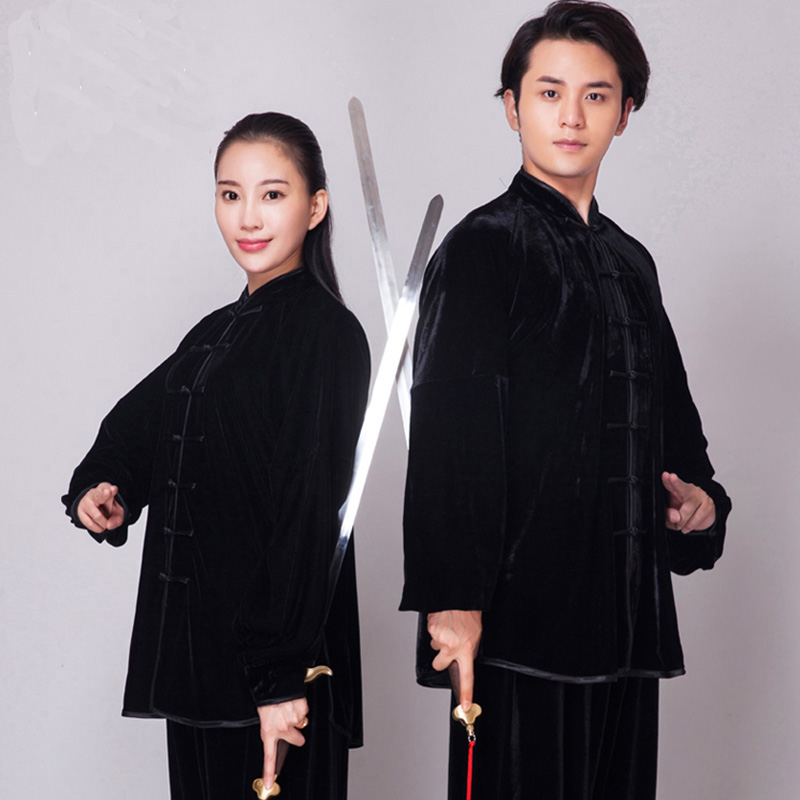 Unisex Gold Velvet Chinese Style Autumn Winter Thickening TaiChi Uniform Performance Clothing Suits Man Woman