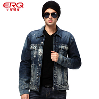 ERQ New Retro Denim Jacket Autumn Men Bleached Washed Fashion Vintage Tops Casual Jean Coat Full