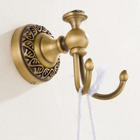 Solid Copper Cloth Hook Double Coat Bathrobe Hanger Hanging Rack Wall Mounted Towel Hook