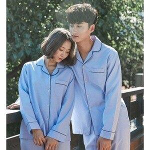 Image 4 - Lovers Pajamas Cotton Long Sleeves Autumn Women white solid Pajama Set Cotton Home Wear Casual Pyjamas For Lovers Couple pajamas