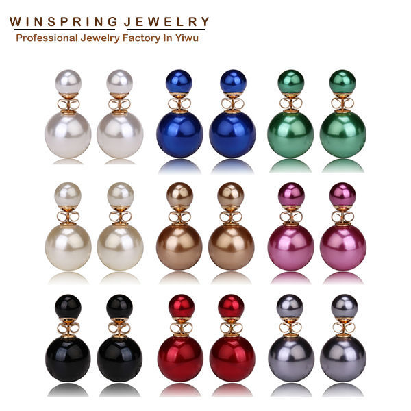 2017 Hot 9Colors 14mm Small Pearl Earrings Double ...