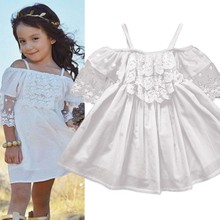 цены на 2018 Toddler Kids Girls Summer Dress Off-shoulder Ruffles Lace Dresses Solid White Baby Girl Clothes Princess Costume 2-7Y  в интернет-магазинах