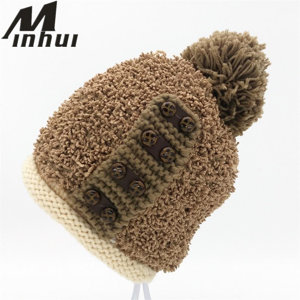 Minhui Buttons Knitted Touca Skullies Beanie Women Pompom Hat Bonnet Thick Warm Winter Hats for Women Beanies Caps Gorro skullies