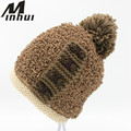 Minhui Buttons Knitted Touca Skullies Beanie Women Pompom Hat Bonnet Thick Warm Winter Hats for Women Beanies Caps Gorro