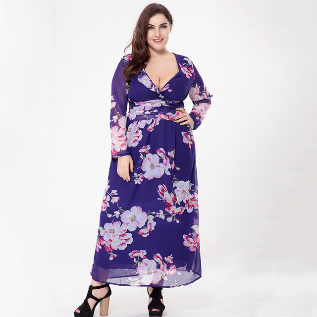 2017 Autumn 5XL 6XL Flower Print Women Dress Large Size Women Clothing Sexy Boho  Maxi Dress Big Size Women Long Beach Dresses 2279eb970f96