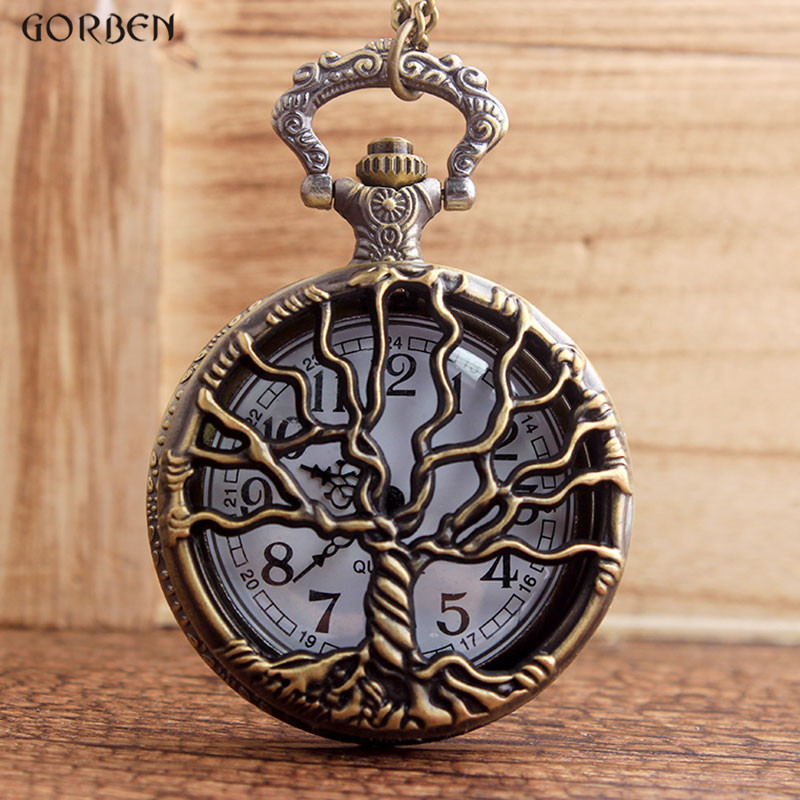Retro New Style Unisex Bronze Hollow Tree Design Quartz Pocket Watch With Fob Chain Women Watch Pendant Necklace Chain Mens Gift