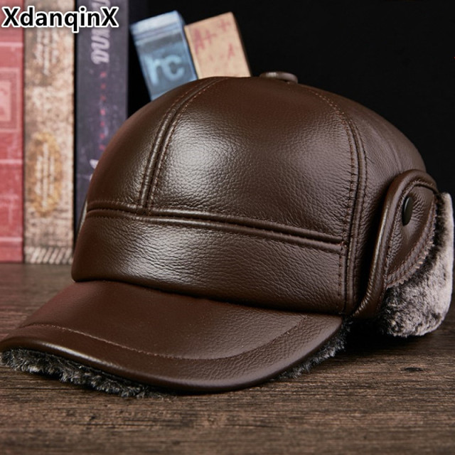 12de898318a XdanqinX Genuine Leather Hat Men s Winter Warm Baseball Caps Snapback Dad  Cap Plus Velvet Thicken Cowhide