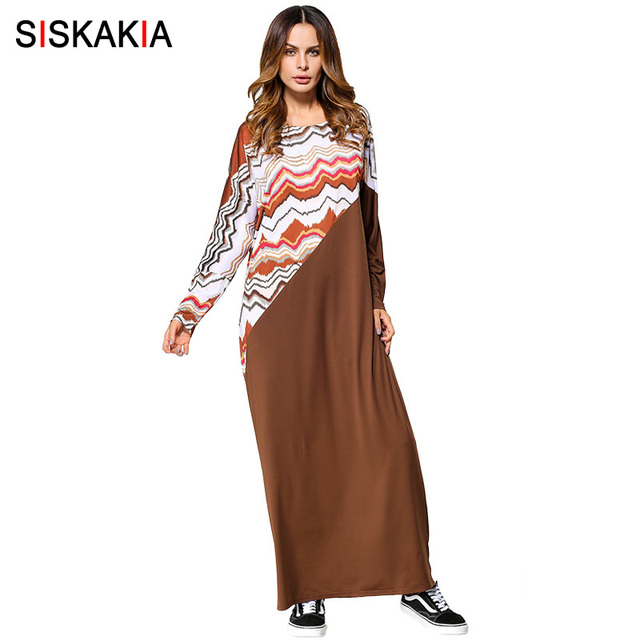 262918e60d7cb Siskakia plus size gowns women Autumn 2017 ripple print patchwork brown  maxi long dress muslim Dubai Middle east style clothing-in Dresses from ...