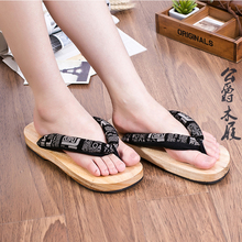 Mazefeng Summer Unisex Platform Shoes Print Wood Men geta sandals Men China Geta Clogs Wooden Slippers Mens Flip Flops Cosplay